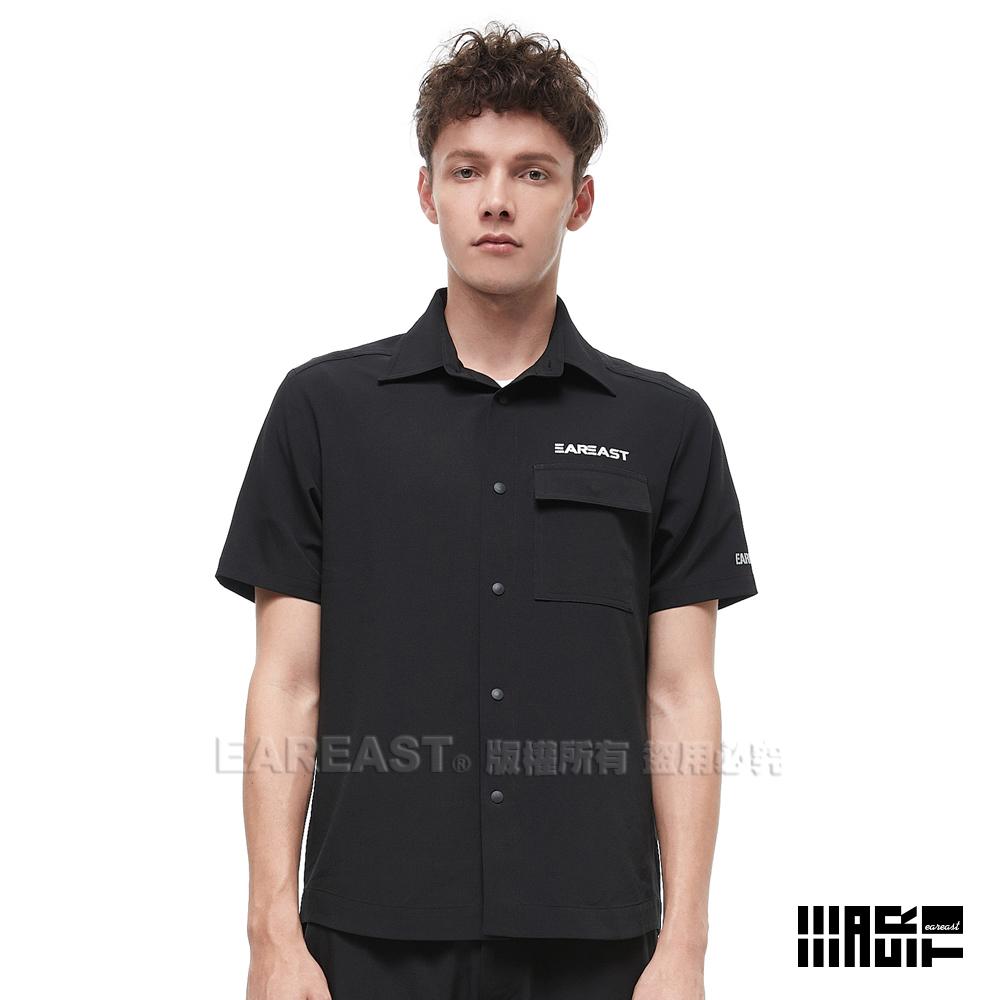 EAR EAST 男款 LOGO短袖襯衫-黑--動態show