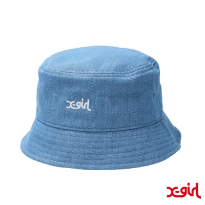 X-girl EMBROIDERED MILLS LOGO BUCKET HAT漁夫帽-藍