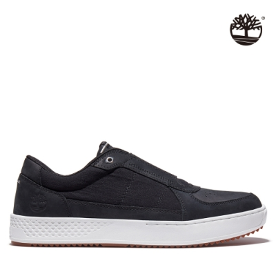 Timberland 男款黑色磨砂革織布拼接休閒鞋|A43KK