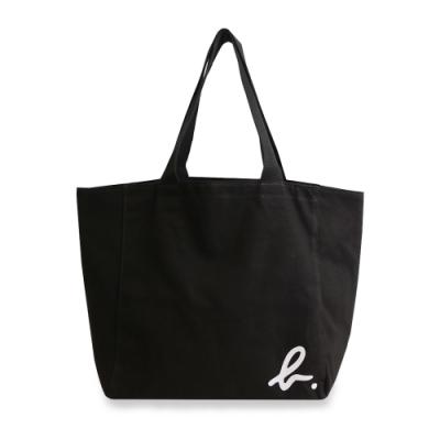 agnes b. Voyage 大型邊角b logo棉質手提袋(黑)