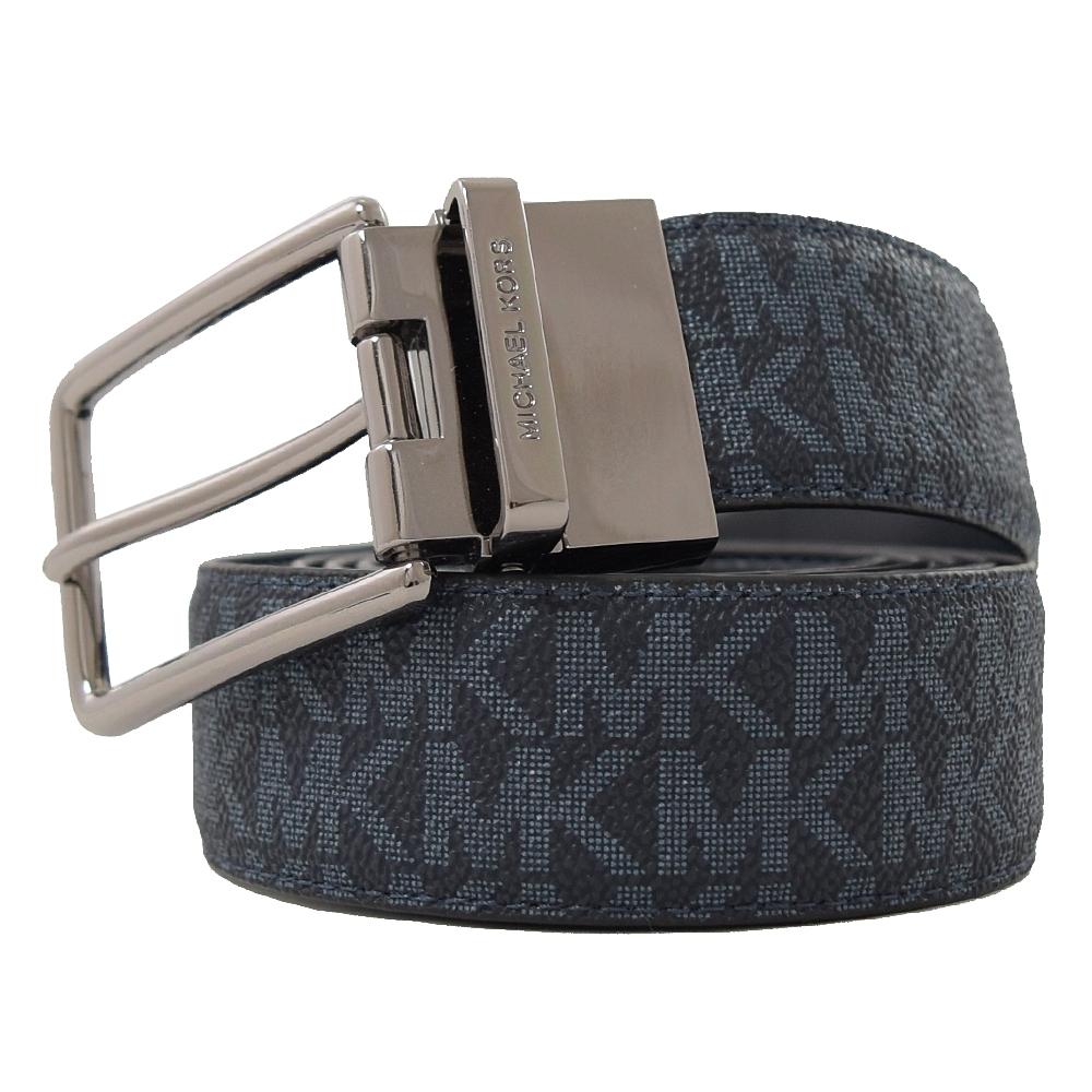 MICHAEL KORS 穿扣皮帶頭PVC雙面皮帶(藍黑)