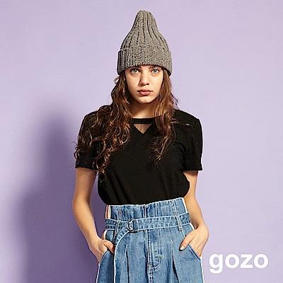 gozo 羽球針織口袋造型棉T(黑色)