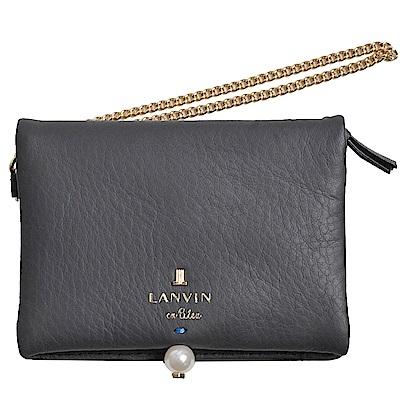 LANVIN en Bleu 品牌字母LOGO珍珠風造型卡片零錢夾(深灰) @ Y!購物