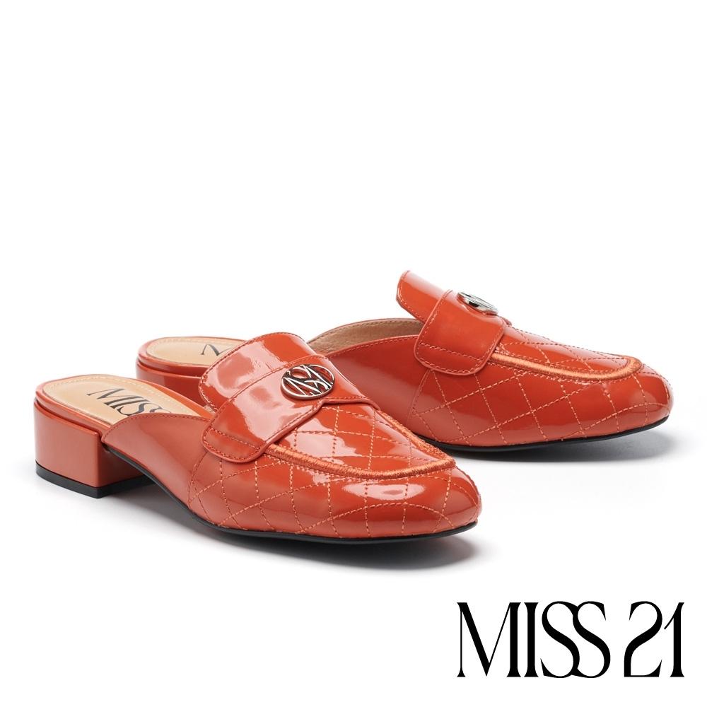 拖鞋 MISS 21 精緻菱格紋品牌LOGO釦造型方頭穆勒拖鞋-磚橘