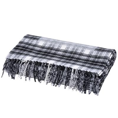 BALENCIAGA 經典品牌LOGO格紋羊毛圍巾(黑)