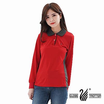 【遊遍天下】MIT女款抗UV吸濕排汗機能POLO長衫L137紅色