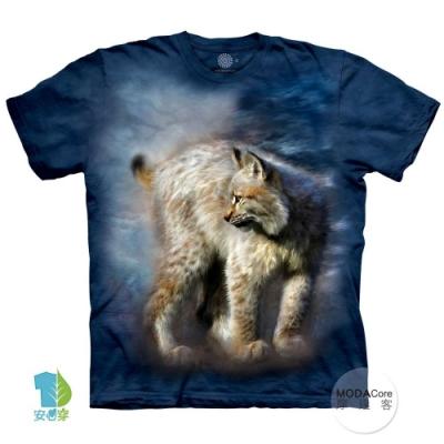 摩達客-美國進口The Mountain 寂靜豹貓 純棉環保藝術中性短袖T恤(大尺碼4 5XL)