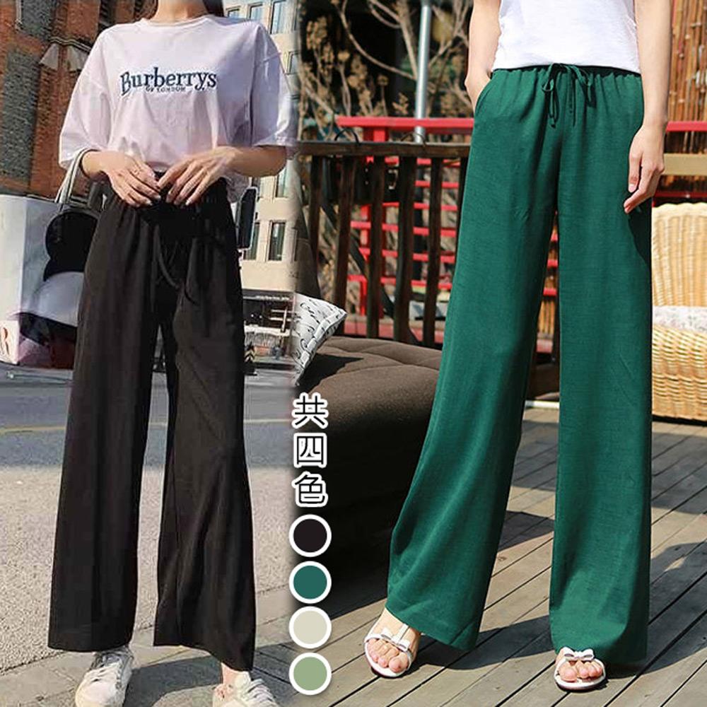 [韓國K.W.] 度假風清爽涼感休閒褲 (米)