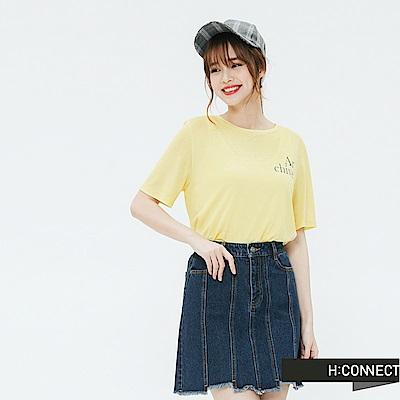 H:CONNECT 韓國品牌 女裝-標語風格圓領T-shirt-黃