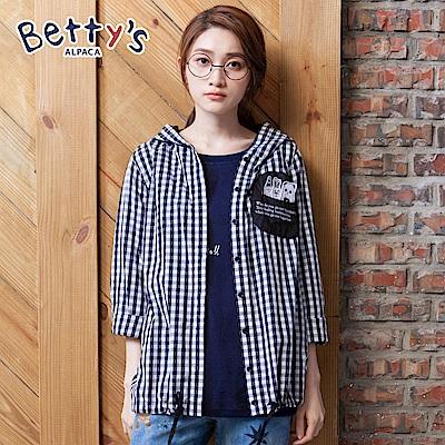betty's貝蒂思 俏皮口袋格紋連帽開襟上衣(黑色) @ Y!購物