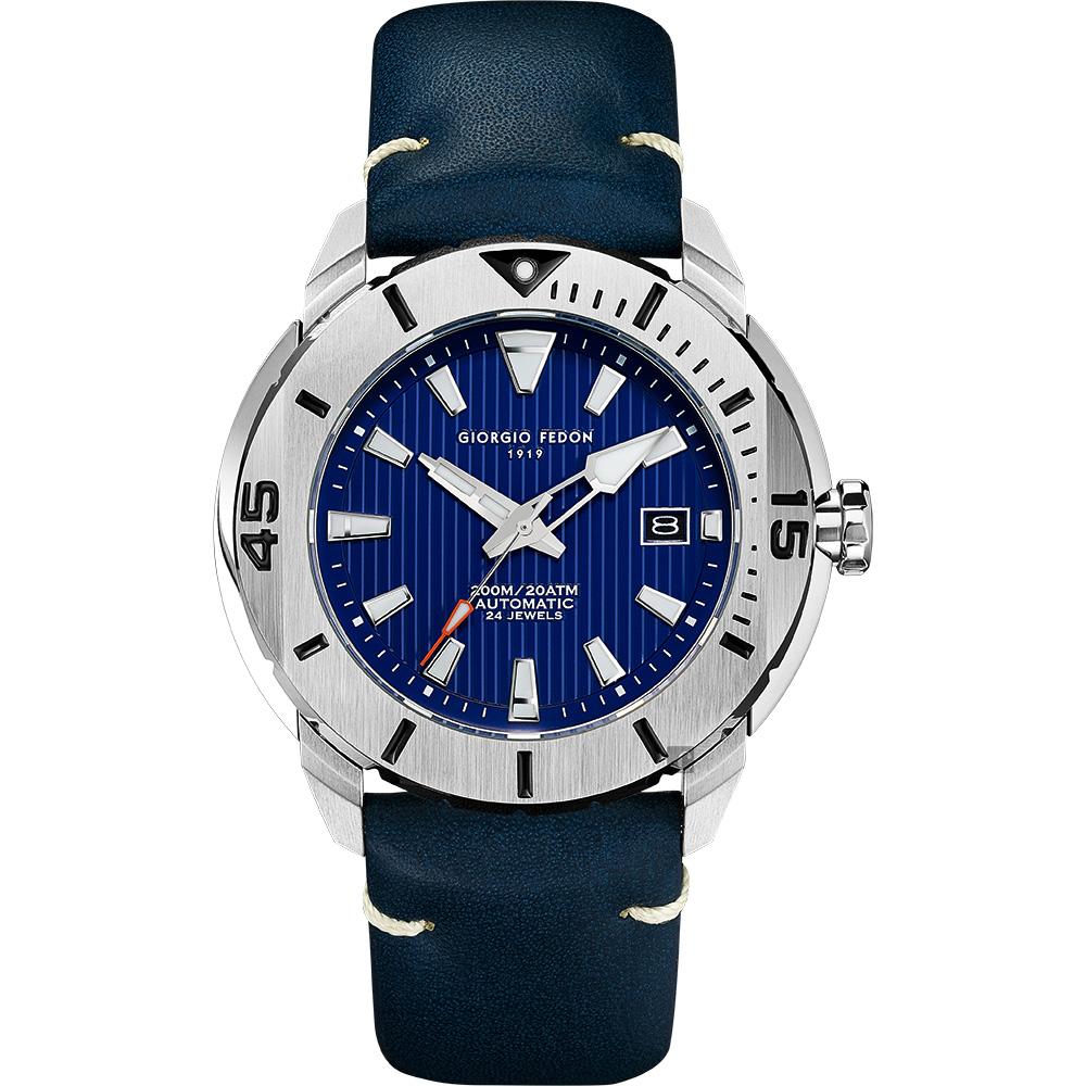 GIORGIO FEDON 1919 海洋系列200米機械錶-藍皮帶/47mm
