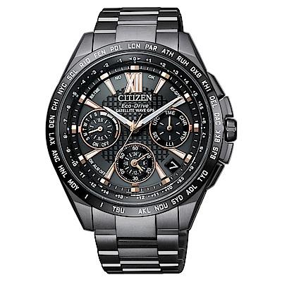 CITIZEN 星辰 限量款光動能GPS衛星鈦金屬腕錶-黑CC9017-59G