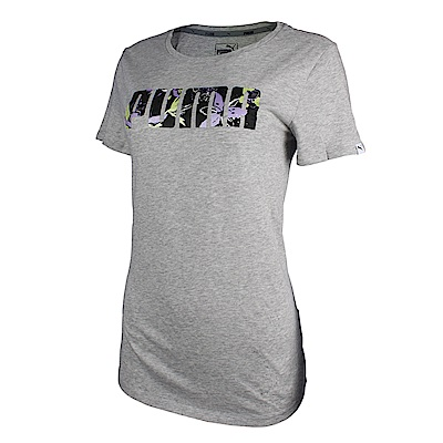 PUMA-女性基本系列花卉短袖T恤-淺麻灰-歐規