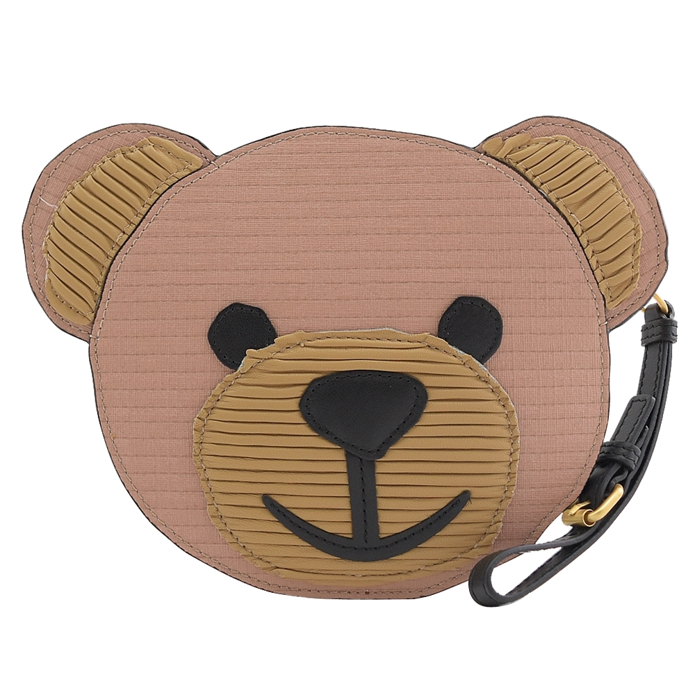 MOSCHINO 瓦楞風大熊臉造型拉鍊零錢包