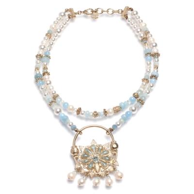 CHANEL 經典雙C雙層珍珠項鍊(藍)
