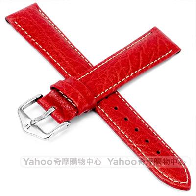 海奕施 HIRSCH Jumper L 白縫線小牛皮錶帶 防水可清洗 -紅