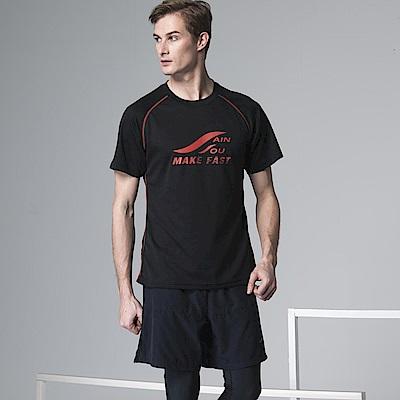 聖手牌 T恤圓領衫 黑色吸濕排汗運動休閒短袖圓領衫