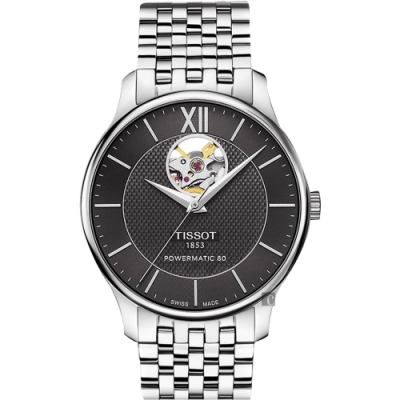 TISSOT 天梭 Tradition 80小時動力鏤空機械腕錶-黑/40mm T0639071105800