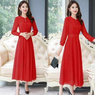 【韓國K.W.】(預購)韓時尚雪紡絕美雅緻女神修身長裙-3色
