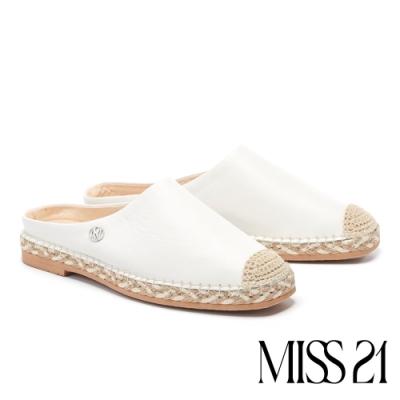 拖鞋 MISS 21 清新質感異材質拼接草編休閒拖鞋-白