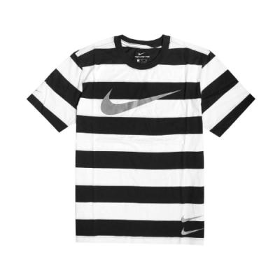 Nike T恤 Swoosh Striped T 男款 NSW 條紋 勾勾 圓領 棉質 基本款 白 黑 CQ5197100