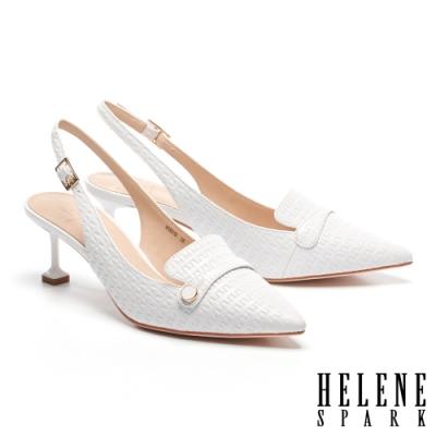 高跟鞋 HELENE SPARK 滴油圓釦繫帶造型全羊皮樂福高跟鞋-白