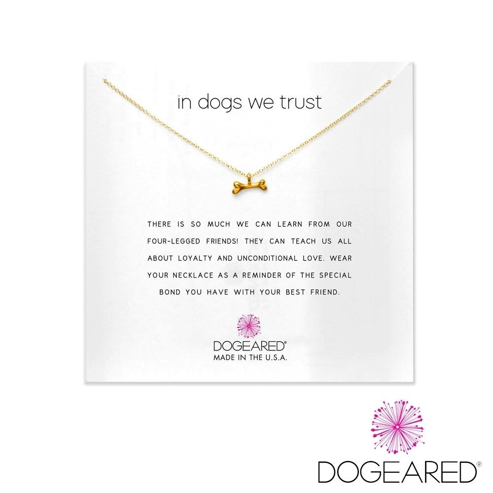 美國DOGEARED 俏皮狗骨頭鍍金祈願項鍊 In Dogs We Trust