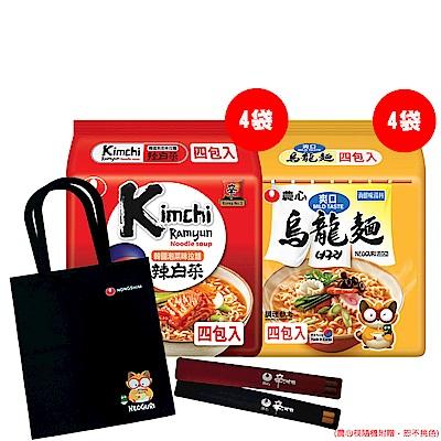 [團購G] 農心泡菜味拉麵(4袋)+爽口海鮮烏龍麵(4袋)