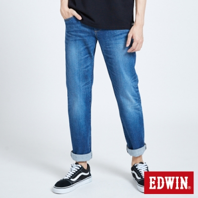 EDWIN 503 基本五袋中直筒牛仔褲-男-石洗藍