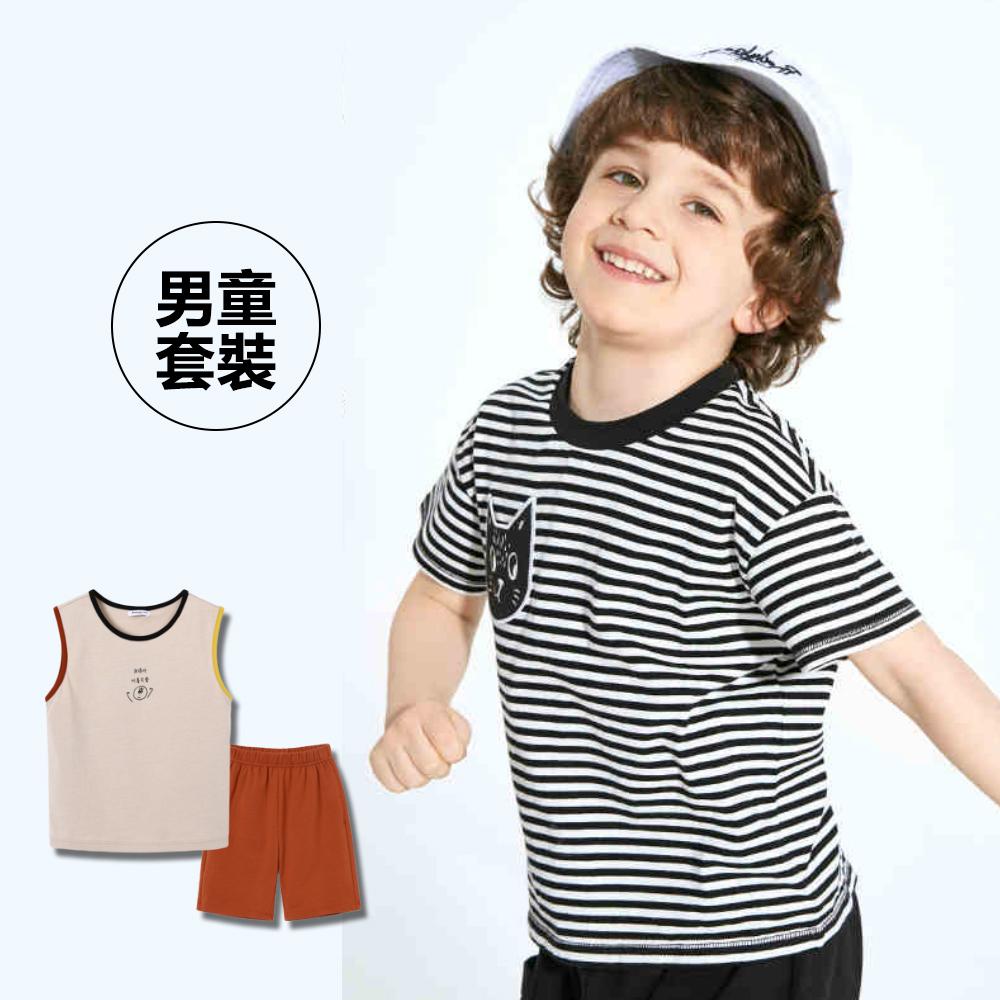 [限時$399]-條紋小貓貼布造型短袖套裝-男童
