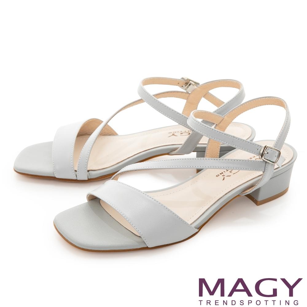 MAGY 經典斜邊細帶真皮低跟 女 涼鞋 淺藍