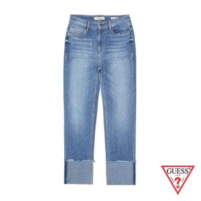GUESS-女裝-刷白造型反折直筒牛仔褲-淺藍