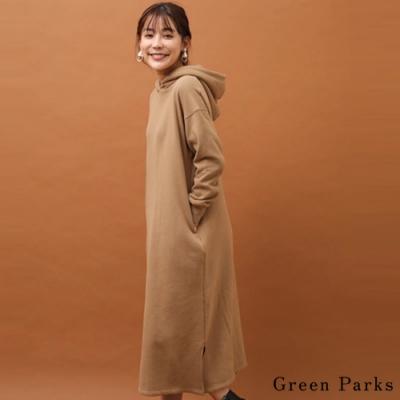 Green Parks 麂皮絨面刷毛連帽長版連身裙