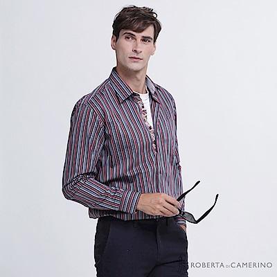 ROBERTA諾貝達 台灣製 吸濕速乾 絲光棉條紋長袖襯衫  紅藍