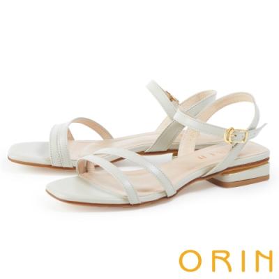 ORIN 細版牛皮踝繞帶低跟 女 涼鞋 淺灰