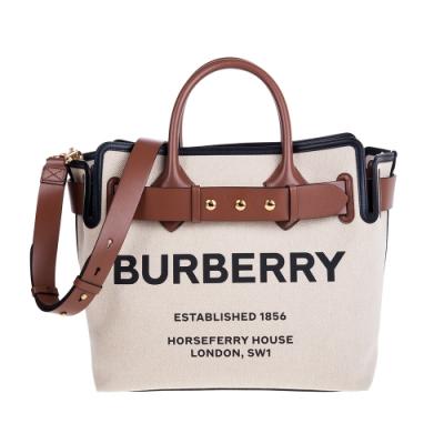BURBERRY 新款The Belt 三按扣中型棉質帆布手提/肩背包 (麥芽棕色/黑色)