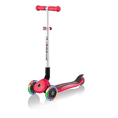 【酷炫發光前輪】GLOBBER 哥輪步 兒童2合1三輪摺疊滑板車-活力紅
