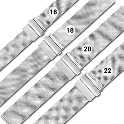 Watchband / DW代用 各品牌通用透亮輕巧耐用米蘭編織不鏽鋼錶帶 銀色