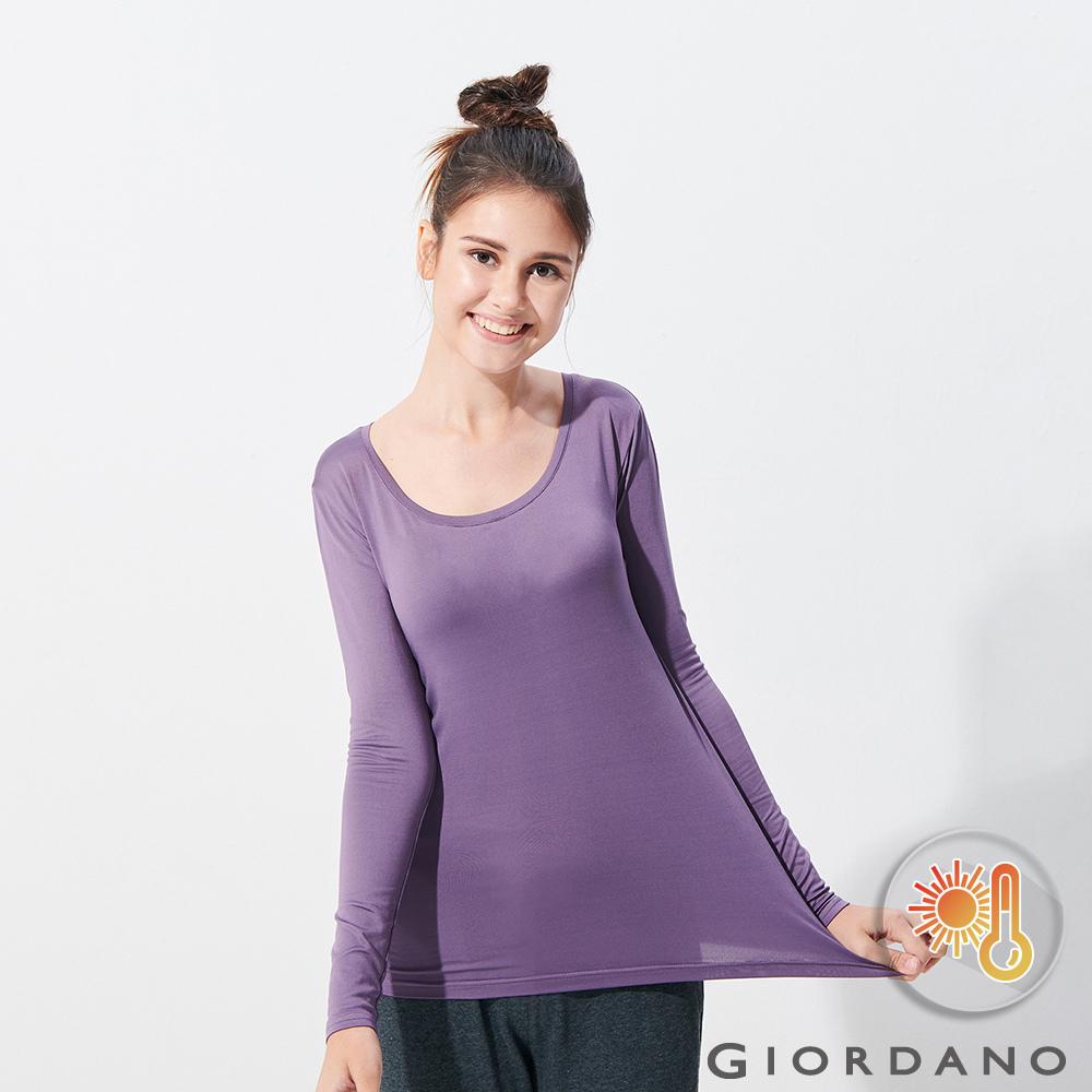 GIORDANO 女款Beau-warmer plus+彈力圓領極暖衣-17 梅紫