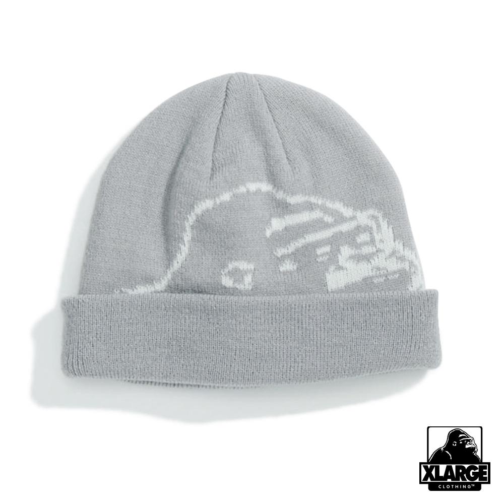 XLARGE BIG OG BEANIE毛帽-銀灰
