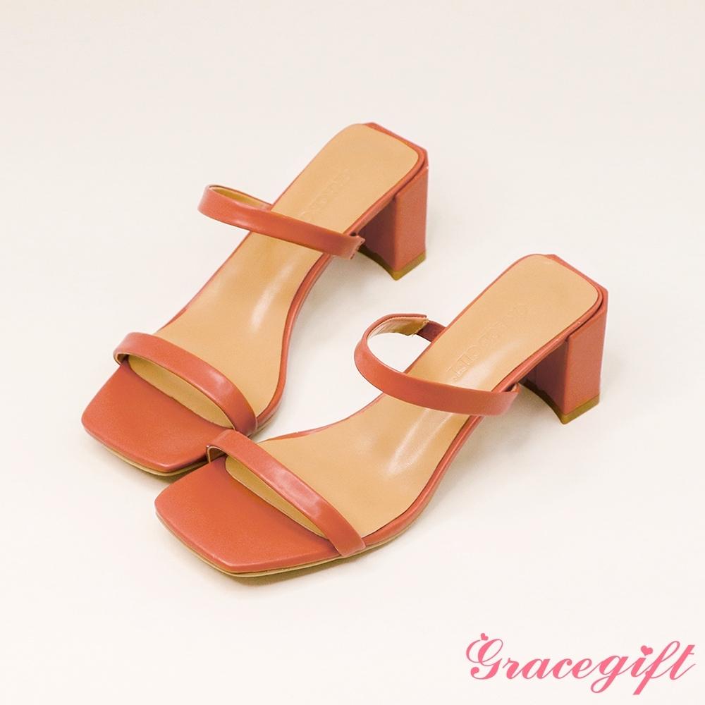 Grace gift-一字雙細帶高跟涼拖鞋 深粉