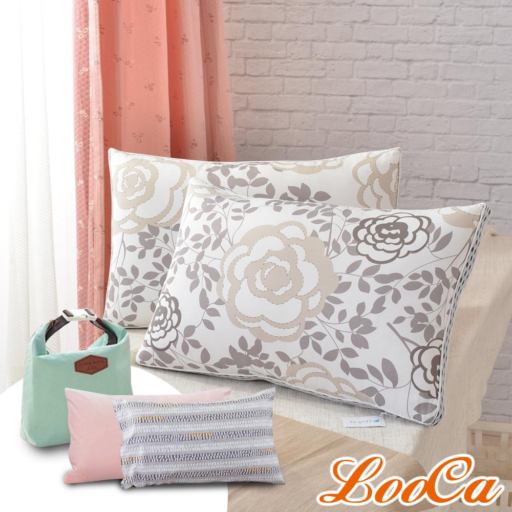 (母親節特惠組) LooCa 瑰麗天絲蠶絲獨立筒枕2入