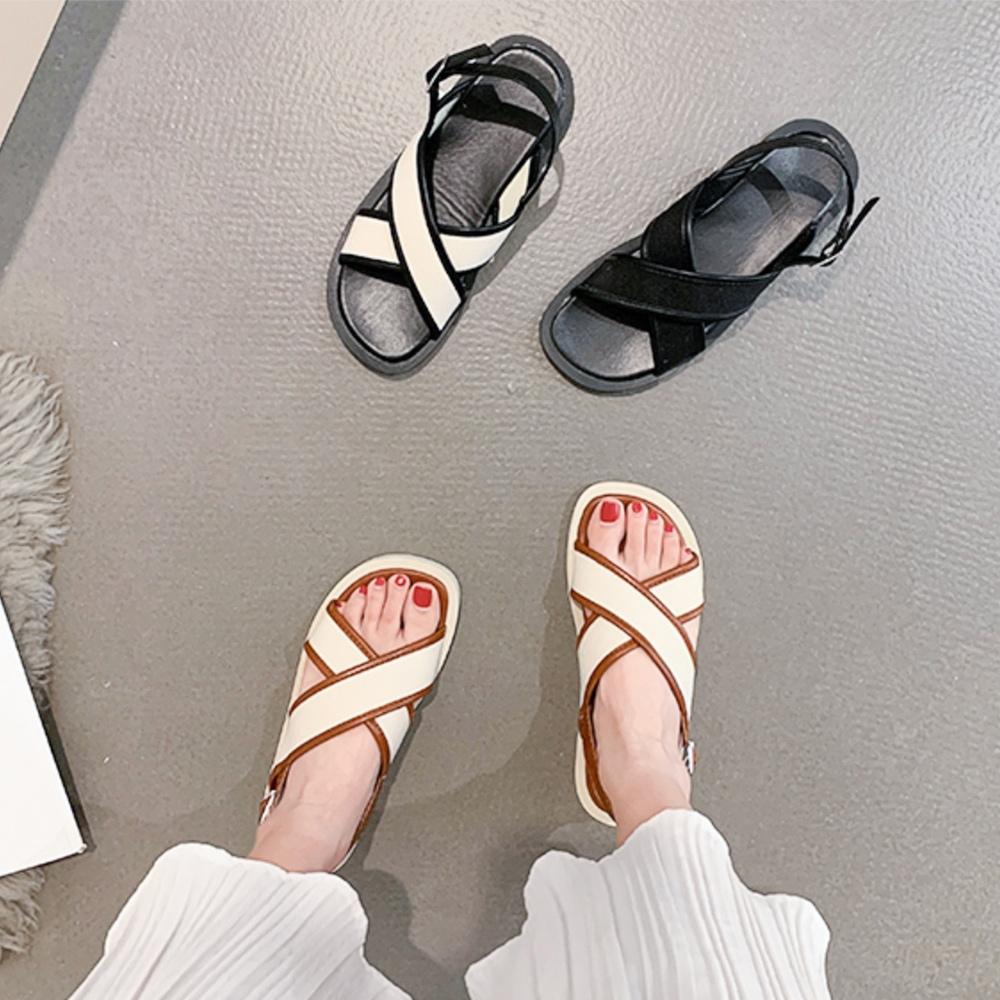 LN  現+預 復古風交叉羅馬涼拖鞋(涼鞋/拖鞋/休閒鞋)