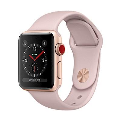 Apple Watch S3 行動網路 38mm 金色鋁金屬錶殼搭配粉沙色運動型錶帶