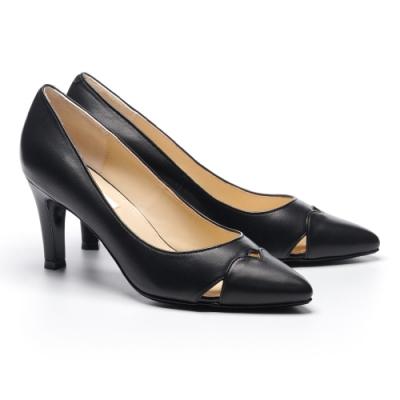 高跟鞋 AS 素雅氣質造型剪裁羊皮尖頭高跟鞋-黑