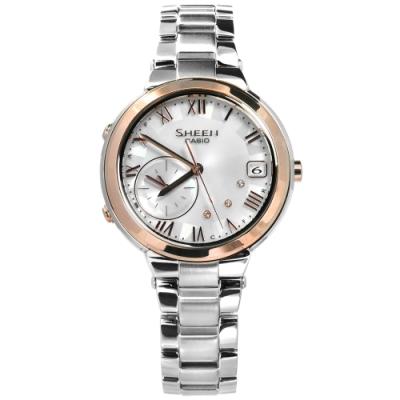SHEEN CASIO 卡西歐 優雅羅馬藍牙太陽能不鏽鋼手錶-銀x香檳金框/35mm