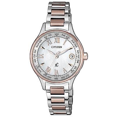 CITIZEN 星辰XC 電波櫻花粉鈦金屬羅馬腕錶-粉EC1169-50W