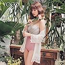 東京著衣-YOCO  碎花拼接高腰馬甲式細肩連身泳衣-S.M.L