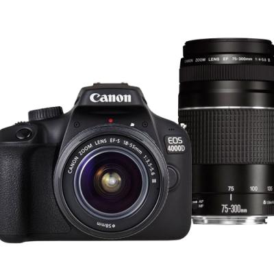 CANON EOS 4000D+18-55mm III+75-300mmIII雙鏡組 中文平輸