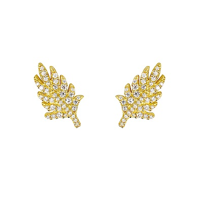 apm MONACO法國精品珠寶 閃耀金色葉片造型耳針式耳環